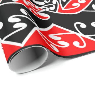 Kowhaiwhai traditionellt Maori Koru mönster Presentpapper