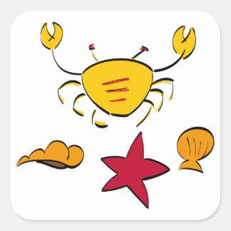 Krabba och snäcka fyrkantigt klistermärke