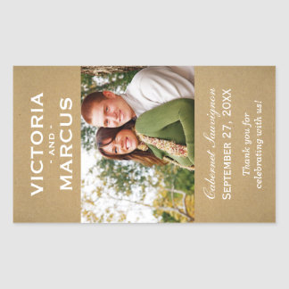 Kraft som gifta sig favör för fotovinflaska rektangulärt klistermärke