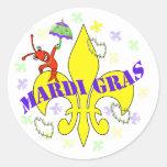 Kräftor Fleur de Lys Mardi Gras Runda Klistermärken