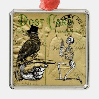 Kråka och skelett julgransprydnad metall