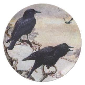 Kråkor i vintervintageillustration tallrik