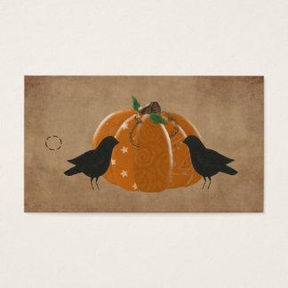 Kråkor och primitiv hängningmärkre för pumpa visitkort