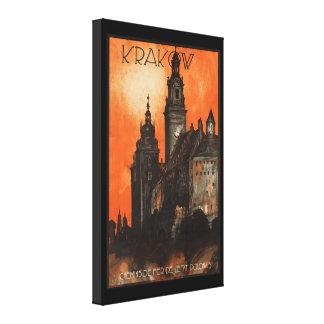 Krakow Polen - polsk vintage reser affischen Canvastryck