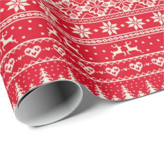 Kräm- alpint papper för juljumpermönster presentpapper
