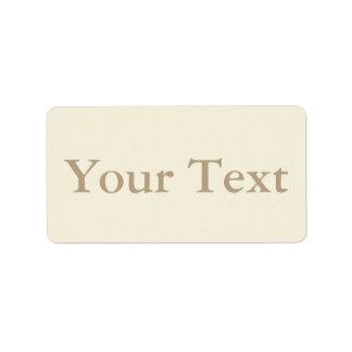 Kräm- & beige klistermärkear eller etiketter med adressetikett