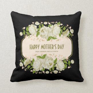 Kräm- blom- lycklig mors dagdekorativ kudde