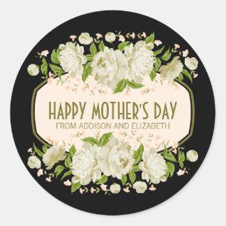 Kräm- blom- lycklig mors dagklistermärke runt klistermärke