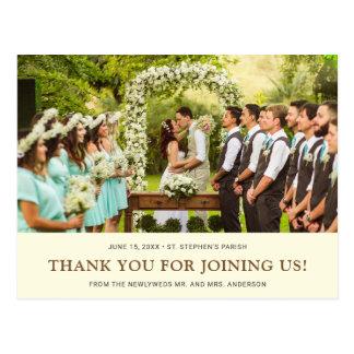 Kräm- brunt för brudbrudgum för bröllop   tack för vykort