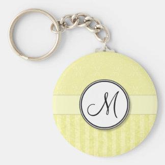 Kräm- damast för citron med randar och monogramen rund nyckelring