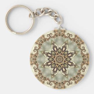 Kräm- Mandala Keychain för sodavatten 13 Rund Nyckelring