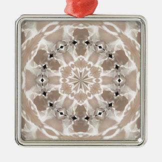kräm- och beige konst för abstrakt för cafeaulait julgransprydnad metall