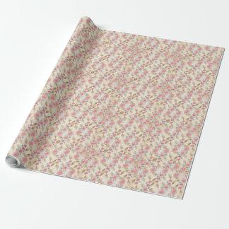 Kräm- och rosa gåvasjal för blom- chic presentpapper