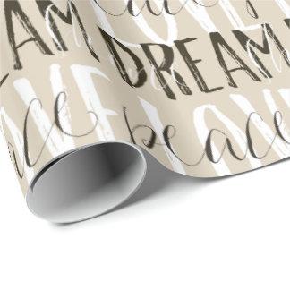 Kräm- sken för fred för dröm för kärlek för presentpapper