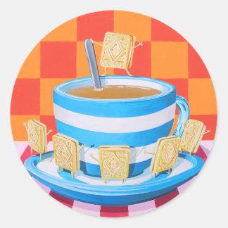Kräm- Tea för Custard Runt Klistermärke