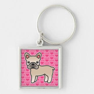 Kräm- tecknadfranskbulldogg fyrkantig silverfärgad nyckelring