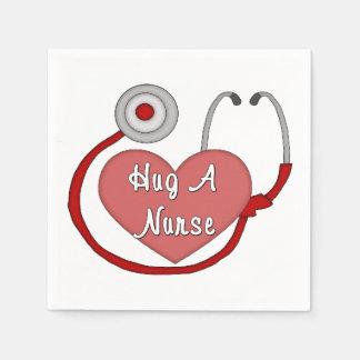 Krama en sjuksköterska papper servett