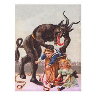 Krampus kidnappningbarn vykort