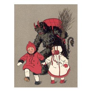 Krampus som jagar barn, kopplar vykort