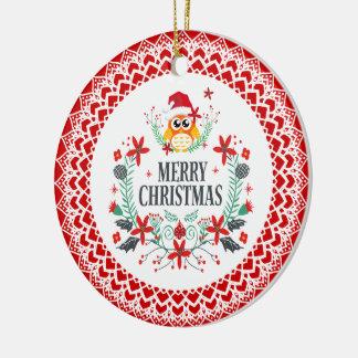 Kran för god jultypografi- & juluggla julgransprydnad keramik