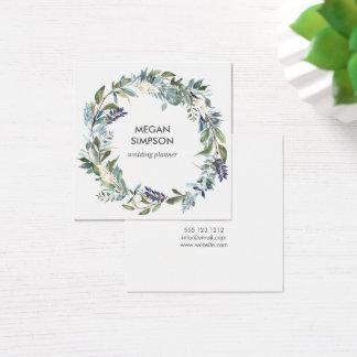 Kran för grönska- och blåttvattenfärgblommigt fyrkantigt visitkort