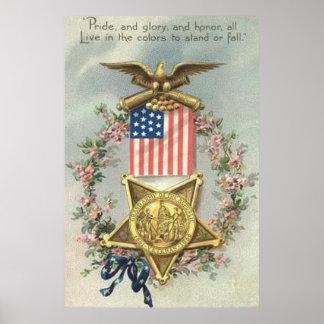 Kran för örn för medalj för inbördeskrig för US-fl Poster