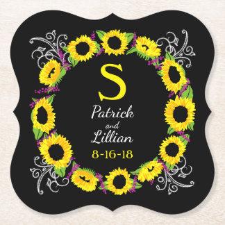 Kran för solros för personligbröllopMonogram Underlägg Papper