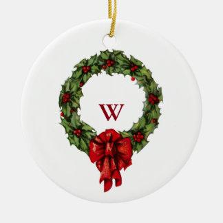 Kran och bär för järnek för Mongram vintagejul Julgransprydnad Keramik