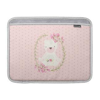 Kran och hjärtor för gullig björn blom- MacBook air sleeve