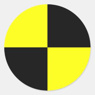 kraschen testar attrapper som symbolet runt klistermärke