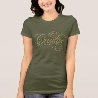 Kreativ ett damT-tröjaguld på mörk T Shirts
