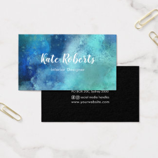 Kreativ för visitkort | för blåttmarinvattenfärg