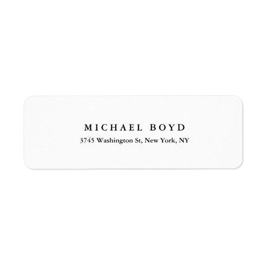 Kreativsvart & klassisk professionell för vit returadress etikett