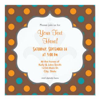 Kricka, brunt och orange polka dots fyrkantigt 13,3 cm inbjudningskort