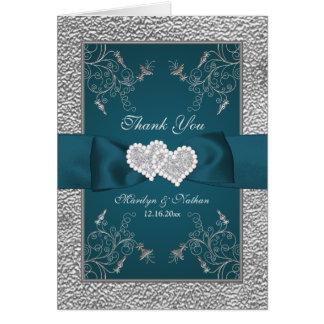 Kricka för brölloptack för silver blom- kort