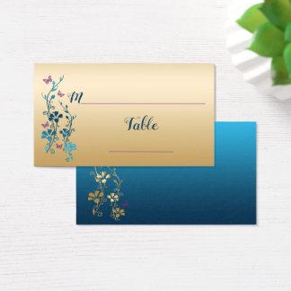 Kricka guld, purpurfärgad blommigt, fjärilar visitkort