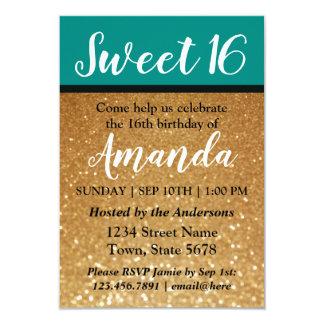 Kricka & guld- söt 16 födelsedag för glitter | 8,9 x 12,7 cm inbjudningskort