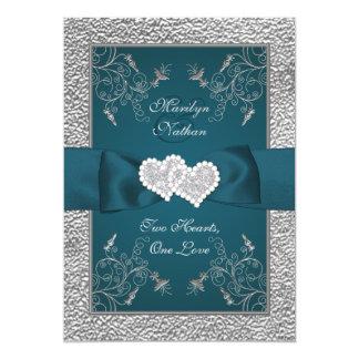 Kricka och grått gick med hjärtor som gifta sig 12,7 x 17,8 cm inbjudningskort