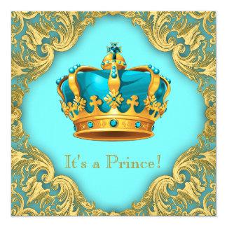 Krickablått och guld- Prince baby shower Fyrkantigt 13,3 Cm Inbjudningskort