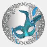 Krickablåttsilver maskerar maskeradkuvertet rund klistermärke