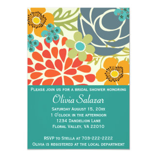 Krickablomsterträdgårdinbjudningskort för möhippan 11,4 x 15,9 cm inbjudningskort