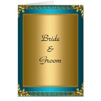 Krickabrud och brudgum för bröllop guld- hälsningskort