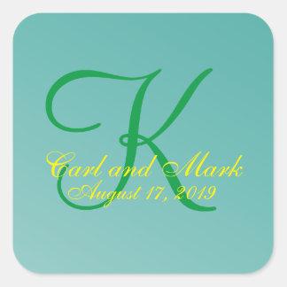 krickagrönt för Monogram 3d Fyrkantigt Klistermärke
