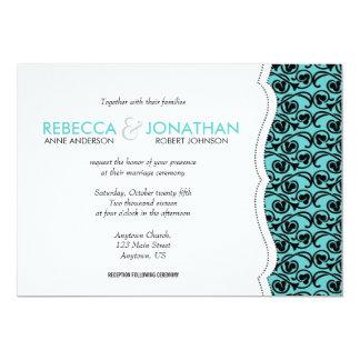 Krickan med svart virvlar runt mönster överdrar 12,7 x 17,8 cm inbjudningskort