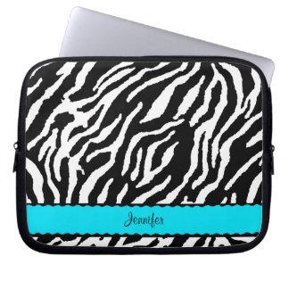 Krickarand med svartvitt zebra mönstrad laptopskydd fodral