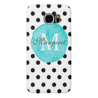 Teal Watercolor Dots Personalized Galaxy S6 Plus