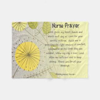 Kristen blommigt för sjuksköterskaböngult fleecefilt