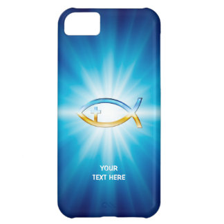 Kristen gåva för bakgrund | för fiskkorblått unik iPhone 5C fodral