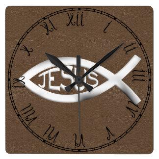 Kristen Jesus fisk Fyrkantig Klocka