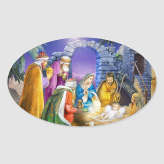 Kristen julkort ovalt klistermärke